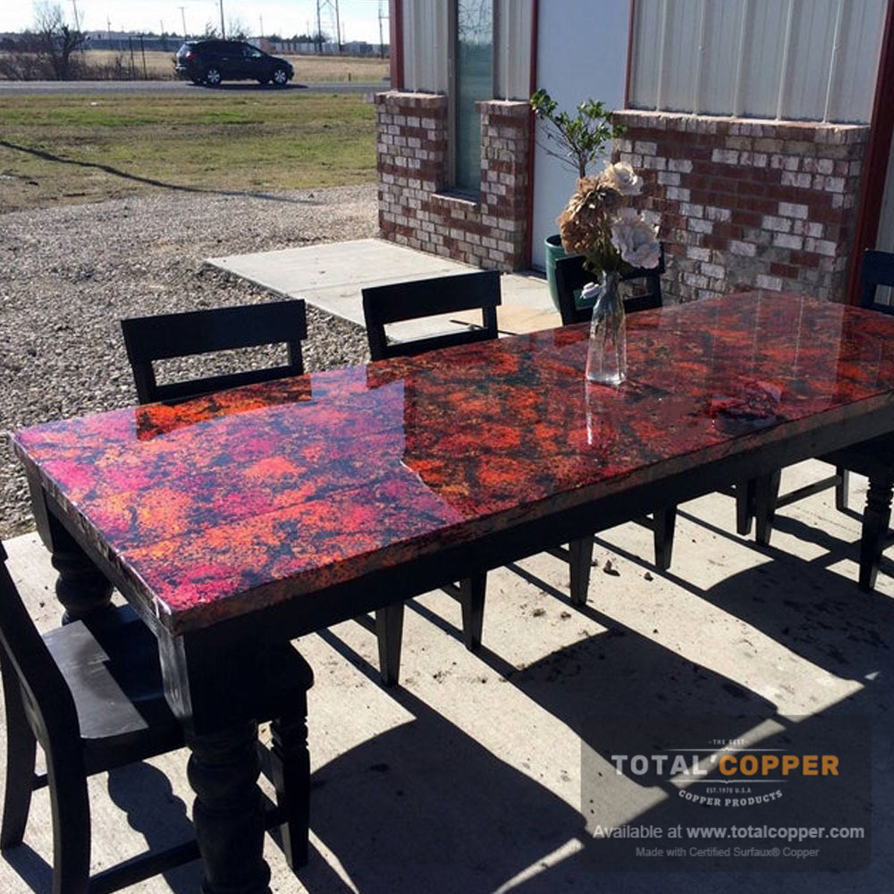 Dining Room Table Made with Wildfire Sheet Copper (Heavy Guage)