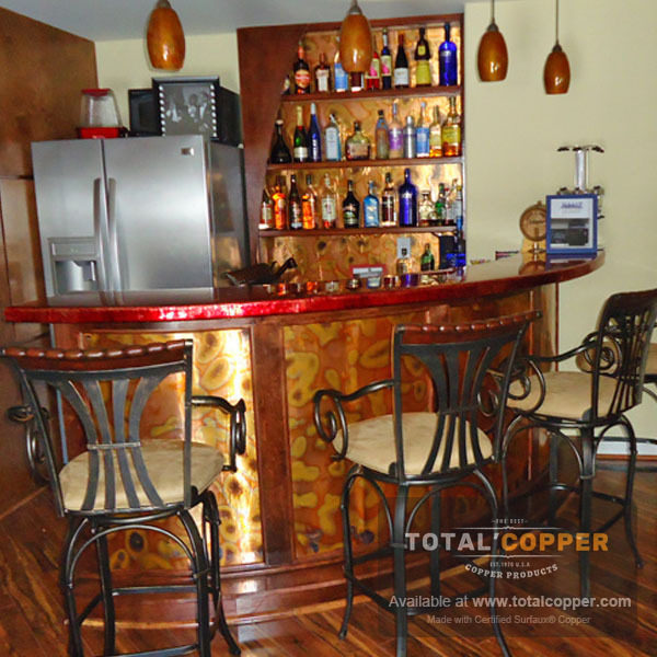 Flamed Copper Finish Bar Panel | Copper Bar