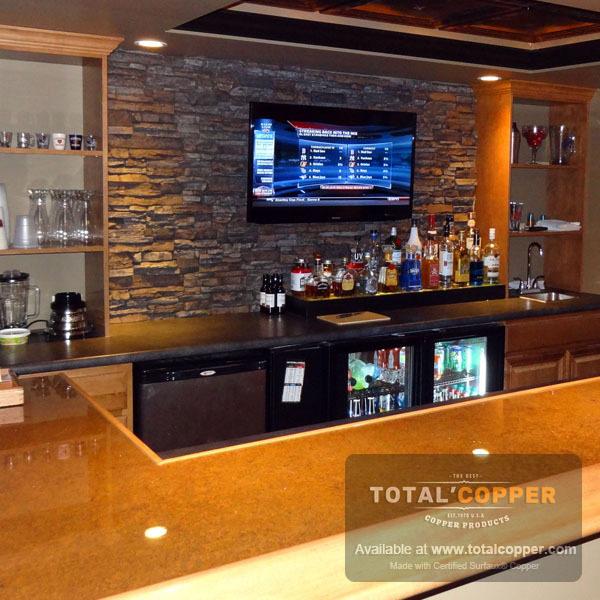 Light Distressed Copper Bar Top | Copper Bar