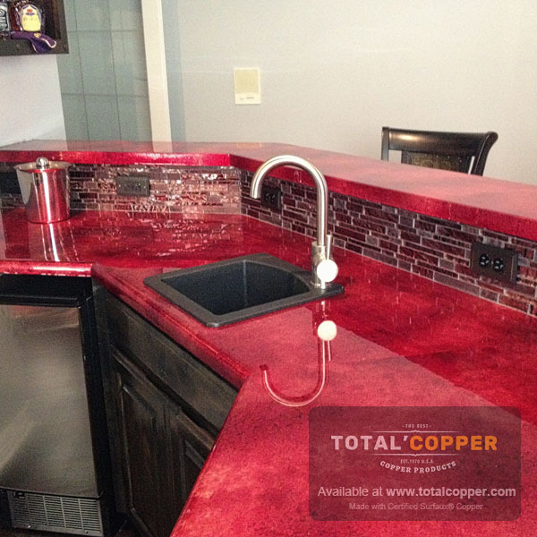 Counter Top Made with Red Wine Sheet Copper (24 Guage)