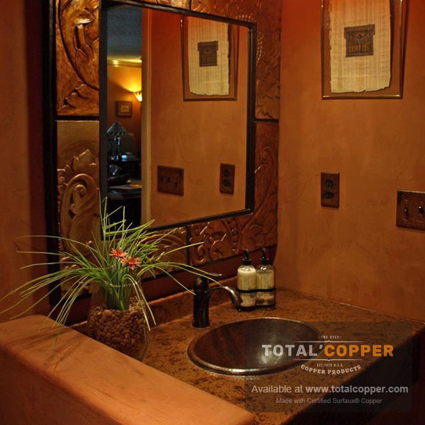 Light Distressed Copper Vanity Counter Top | Copper Counter