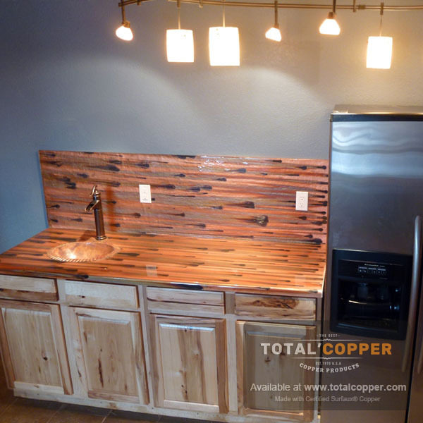 Stellar Copper Kitchen Counter and Backsplash | Copper Backsplash | Copper Counter