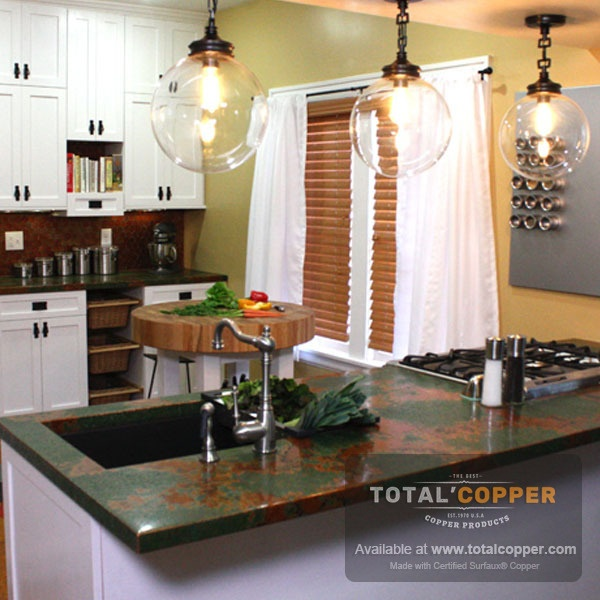 Counter Top Made with Verde Sheet Copper (24 Guage)
