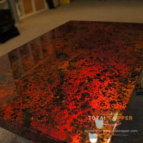 Beautiful Wild Fire Copper Table