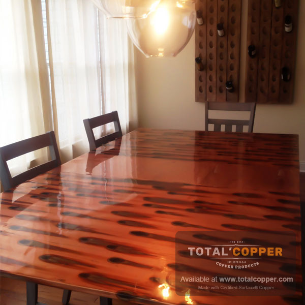 Dining Room Table Made with Stellar Sheet Copper
