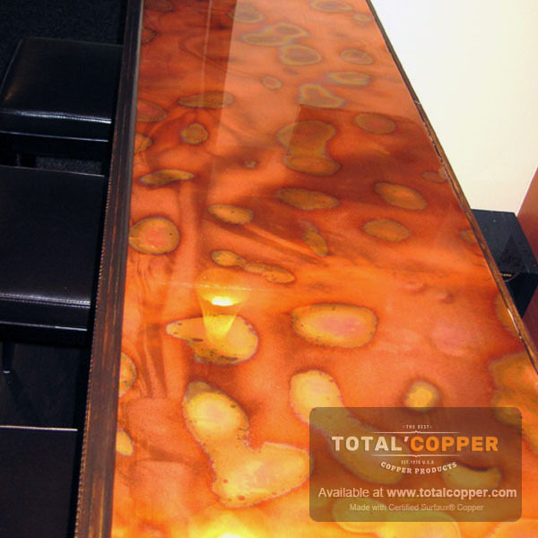 Flamed Copper Counter | Copper Backsplash | Copper Bar