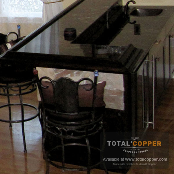 Distressed Dark Copper Counter Top | Copper Counter