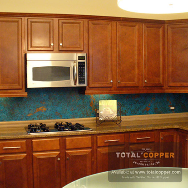 Azul Patina Copper Backsplash | Copper Backsplash