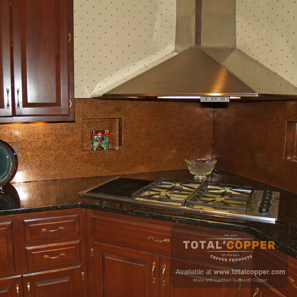 Copper Backsplash Made with Medium Distressed Copper