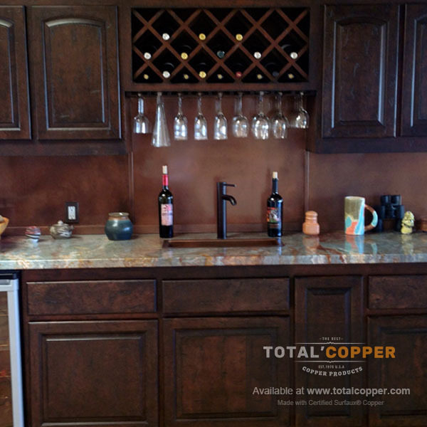Antique Copper Bar Backsplash | Copper Backsplash