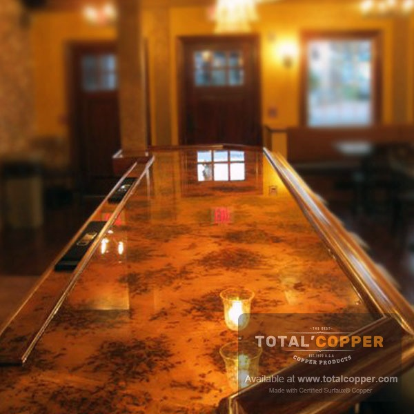 Copper Bar Top Made with Bamboo Sheet Copper (24 Guage)