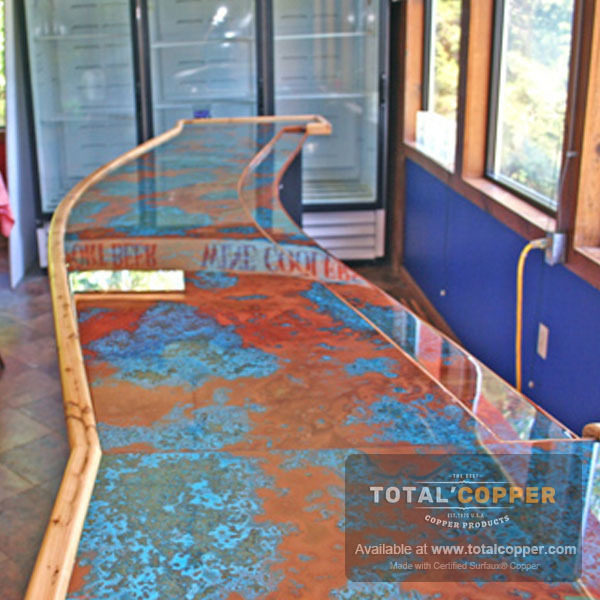 Azul Patina Copper Bar Top | Copper Bar