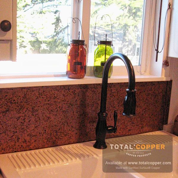 Light Distressed Copper Kitchen Backsplash | Copper Backsplash
