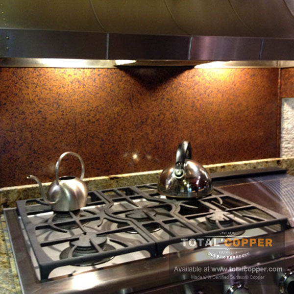Medium Distressed Copper Kitchen Backsplash | Copper Backsplash
