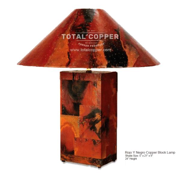 Rojo Y Negro Copper Block Lamp