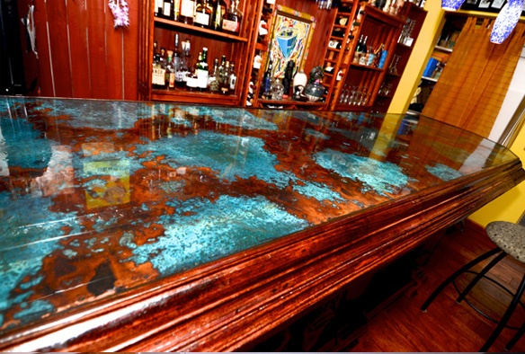 Custom Azul Copper Bar Top